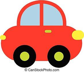 Vector illustration of colorful cartoon car. Red cartoon car.