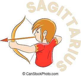 Colorful Cartoon of Sagittarius Zodiac Sign