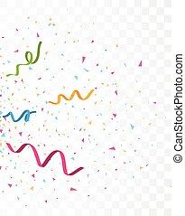 Colorful celebration confetti , isolated on transparent background