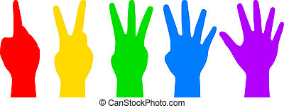 colorful counting hands - Vector illustration of colorful ...