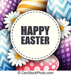 Colorful Easter eggs with flowers and round card