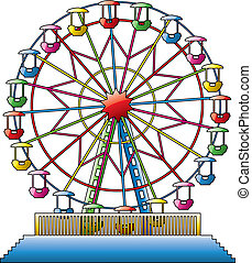 vector illustration of colorful ferris wheel