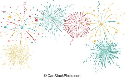 Colorful fireworks background - Vector Illustration of...