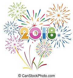 Happy new year 2018 - Vector illustration of Colorful...