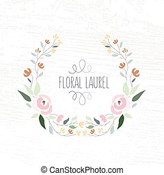 vector illustration of colorful flat design style foral frame and laurel with roses on textured wood background as a template for your design, article, invitation, personal card or print