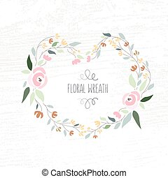vector illustration of colorful flat design style foral frame and wreath with roses on textured wood background as a template for your design, article, invitation, personal card or print