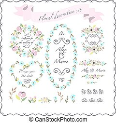 vector illustration of colorful flat design style foral frames and wreaths set  with flowers and brushes with signature as a template for your design, article, invitation, personal card or print