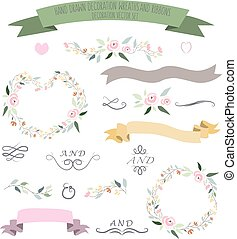 vector illustration of colorful flat design style foral frames, ribbons and wreaths set with signature as a template for your design, article, invitation, personal card or print