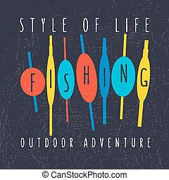 "vector illustration of colorful flat design style signature ""style of life fishing outdoor adventure"" on textured background as a template for your design, article or print"