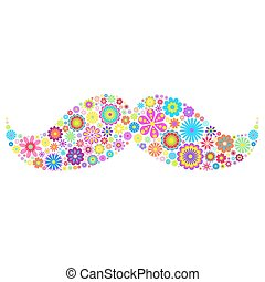 floral mustache on white background