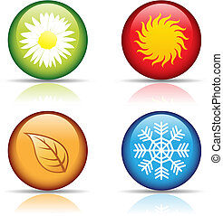 vector illustration of colorful four seasons icons isolated on white