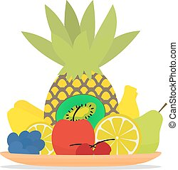 Vector illustration of colorful fruit on a plate