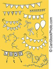 Vector Illustration of Colorful Garlands on white background. Holiday set. Festive flags.