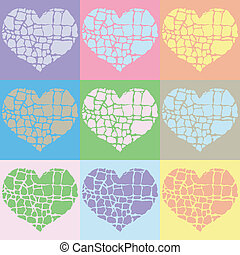 vector illustration of colorful hearts