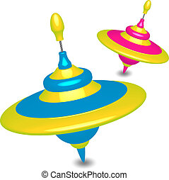 Vector illustration of colorful humming-tops