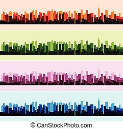 Vector illustration of colorful landscape panorama city background