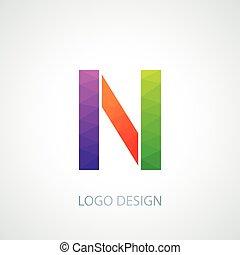 Vector illustration of colorful logo letter n