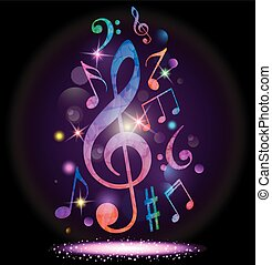 Colorful music background - Vector illustration of Colorful...