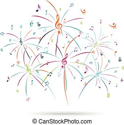 Colorful music notes popping out - Vector Illustration of ...