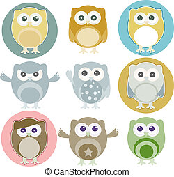 Vector illustration of colorful owls with nine color