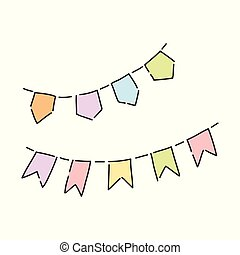Vector illustration of colorful party flags isolated on white background.