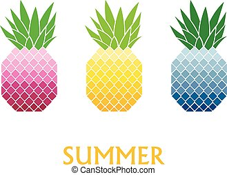 Vector illustration of colorful pineapple with text
