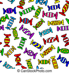 candy - vector illustration of colorful seamless candy ...