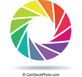 Vector illustration of Colorful shutter aperture