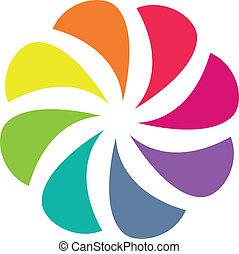 Vector illustration of Colorful shutter aperture symbol