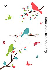 Colorful tree with birds and birdcages