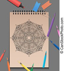 Vector illustration of coloring adults mandala with colored pencils on the table. Example for presentations and your design