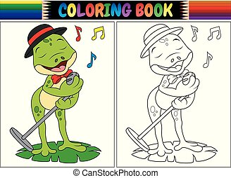Coloring book cartoon frog singing