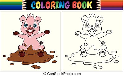 Vector illustration of Coloring book cartoon pig play in a mud puddle