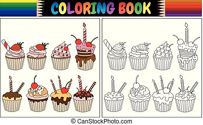 Coloring book cupcake with candles and fruits
