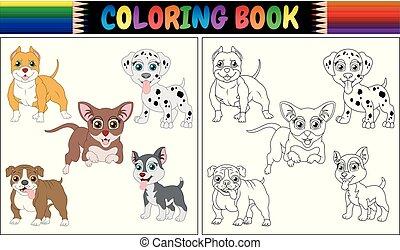 Coloring book pets cartoon