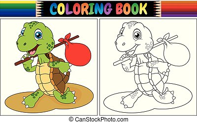 Coloring book turtle cartoon