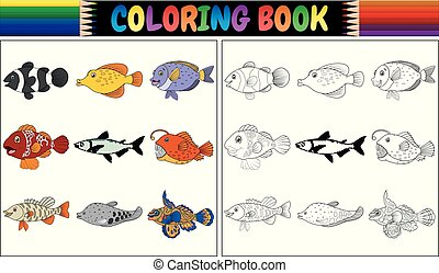 Coloring book various fishes
