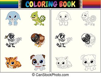 Coloring book with animals cartoon collection