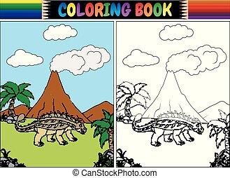 Coloring book with ankylosaurs cartoon