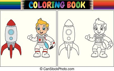 Coloring book with astronaut kid and rocket ship