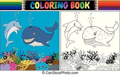 Coloring book with cartoon dolphin and whale