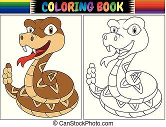 Coloring book with cartoon rattlesnake