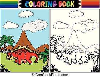 Coloring book with cartoon stegosaurus - Vector illustration...