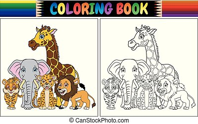 Coloring book with cute african animals