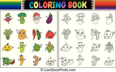 Coloring book with cute cartoon vegetables