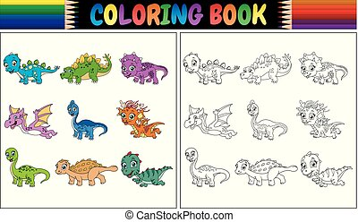 Coloring book with little dinosaur cartoon collection