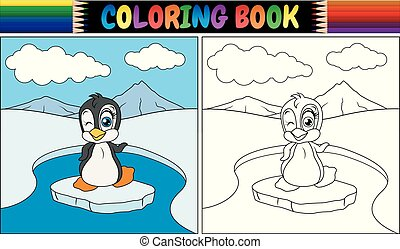 Coloring book with penguin bird
