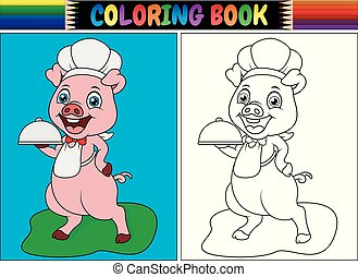 Coloring book with pig chef cartoon