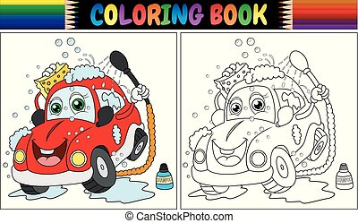 Coloring book with red cartoon car washing