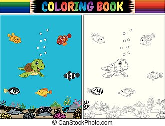 Coloring book with sea animals